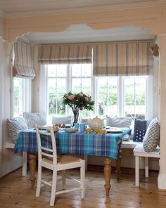 Superb dining nook in a coastal cottage. A really characterful feature in a small space.  Cottage of the Week: Northcott Beach House, Nr Bude, Cornwall UK
