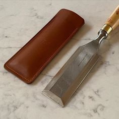 FizzArrow leather chisel cover. #chisel #leathercover #robertsorby #protection #handmade #leathergoods #bespoke #fizzarrow Leather Apron, Leather Satchel, Calf Leather, Conkers, Work Bags, Paper Folding, Stitching Leather, Its A Wonderful Life, Garden Trowel