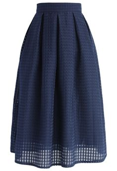 Grids and Pleats Midi Skirt in Navy - New Arrivals - Retro, Indie and Unique Fashion