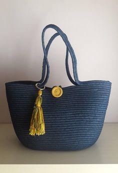 shared a new photo on Etsy Rope Basket, Basket Bag, Fabric Bowls, Diy Tote Bag, Rope Crafts, Jute Bags, Denim Bag, Reusable Bags, Artisanal