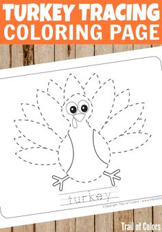 Cute Turkey Tracing Coloring Page For Kids More