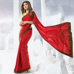 Red Colour Chanderi Saree With Blouse Cotton Blouses, Cotton Saree, Red Saree, Sari, Indian Fashion, Womens Fashion, Red Colour, Saree Styles, Saree Blouse Designs