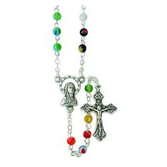 Murano Style Glass Round Prayer Bead Rosary with Madonna Center 15 Inch -- Click image for more details.