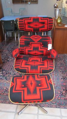 Eames style lounge chair and ottoman reupholstered in Pendleton