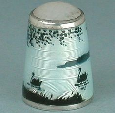 Antique Norwegian Sterling Silver Enamel Swans Thimble Early 20th Century | eBay