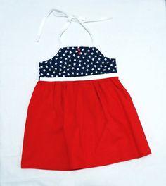 Stars Girl Dress  #ToddlerDress by LoopsyBaby #nautical #kidsclothes #summer #whiteredblue #loopsybaby #sumerdress #patrioticdress #stars