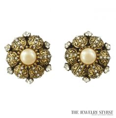 Toledo Style Earrings with Large Center Faux Pearl, Gold-Tone Filagree, Black and Rhinestones ~ Vintage Jewelry Collect