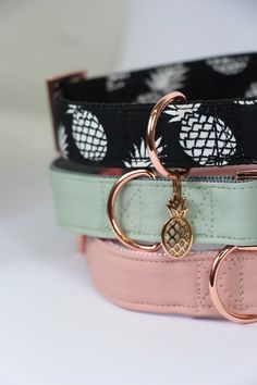 DOG LOVE! The PINEAPPLE, MINT and BLUSH collar - handmade with rose gold hardware! Shop worldwide: www.prunkhund.com