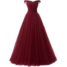 Lisa Off Shoulder Tulle Prom Dress Formal Evening Ball Gown LS059 (250 RON) ❤ liked on Polyvore featuring dresses, gowns, burgundy, formal gowns, red gown, red evening gowns, burgundy gown and red dress