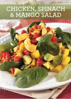 Make this quick Chicken, Spinach and Mango Salad with Warm Tomato ...