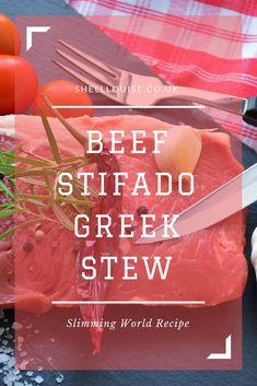 Beef Stifado - A Slimming World recipe for a Greek stew - - Gloria's World - Beef Stroganoff Slimming World Beef Recipes, Beef Stifado, Stewing Steak, Fall Recipes, Christmas Recipes, Greek Recipes, Greek Meals, Beef Stroganoff, Mediterranean Recipes