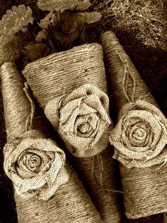 Burlap/Jute Flower Cones