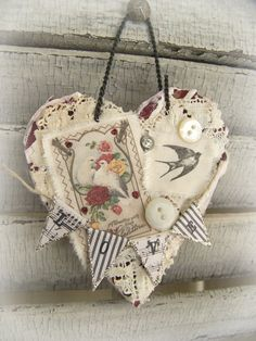 Handmade Valentine Vintage Valentine Ornament  by QueenBe on Etsy, $11.50