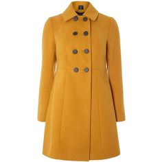 Dorothy Perkins Ochre Double Breasted Swing Coat ($95) ❤ liked on Polyvore featuring outerwear, coats, orange, trapeze coat, double breasted coat, dorothy perkins, dorothy perkins coats and yellow coats