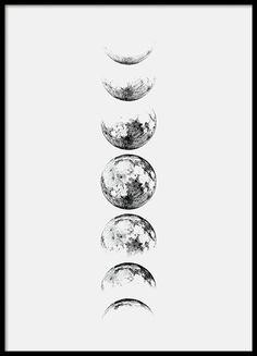Moon Phase Grey, julisteet ryhmässä Julisteet  / Graafiset @ Desenio AB (8371)
