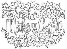 Cozy up with whimsical flowers, pretty text, and some warm thoughts! Downloads as a PDF. Use pattern transfer paper to trace design for hand-stitching.