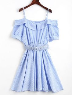 Checked Belted Cold Shoulder Mini Dress - BLUE ONE SIZE