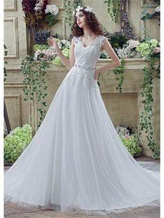 Sophisticated A Line Floor Length V Neck Lace Wedding Dress