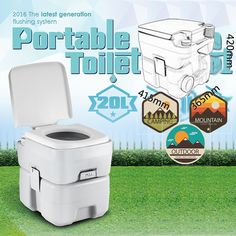 CHH 1020T 20L Portable Removable Flushing Toilet Outdoor Camping Potty Gray
