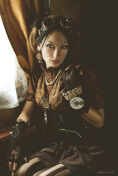 "Steampunk Portrait by Marina ""Loki"" Nosova, via 500px  --  Want to do something like this of my sister and I for our bedroom."