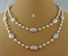Simple elegant silver pearl necklaces.