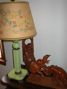 Jadeite (?) Lamp and Carvings