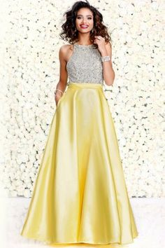 Yellow Posh Party Dress With Halter Bodice 40342