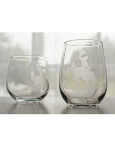 Cheyenne Bucking Bronco Etched Wine Glasses - MADE Jackson Hole