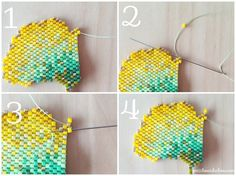 Tutoriels Collier feuille de ginko en tissage brick stitch à décou - Perles & Co