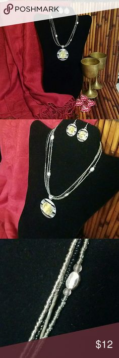 NECKLACE AND EARRINGS SET Sexy, beautiful, and simple set. Colors: Silver, black and, shell design. Accessories