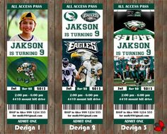 Philadelphia Eagles Birthday PartyEvent Ticket Invitation
