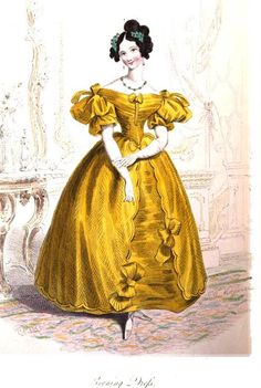 1833.  Evening Dress.  so gorgeous! The sheen of the fabric, the low shoulders, the details on the front of the skirt, all exquisite.  The bows on the shoulders too!