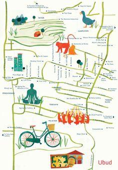 Astrid Prasetianti's Illustrated map of Ubud, Bali
