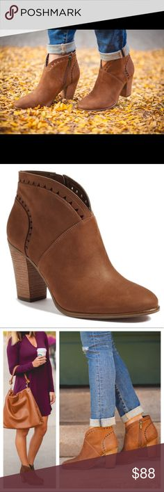 Vince Camuto brown leather fritan ankle bootie Brand new in box! (Size 8.5 does not have the box.) Genuine leather. I have these in sizes 8.5 & 9.5. These were named 'THE BEST BOOTIE!' 😉 and they have amazing reviews. They are SO cute! Vince Camuto brown leather fritan ankle bootie. Vince Camuto Shoes Ankle Boots & Booties
