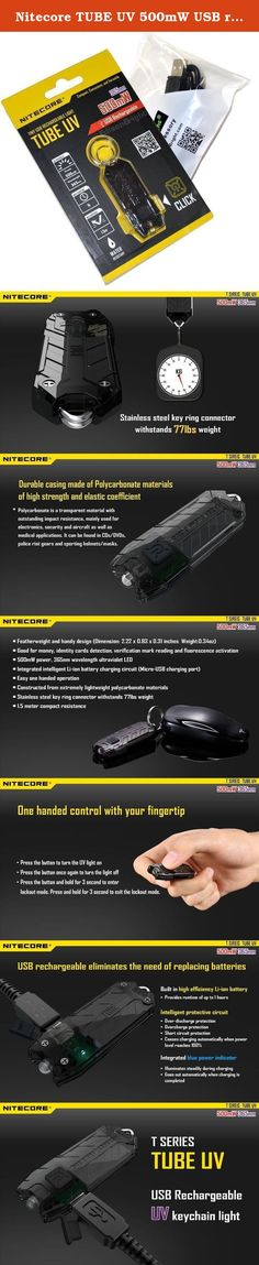 Nitecore TUBE UV 500mW USB rechargeable Ultraviolet blacklight LED keychain light and EdisonBright brand USB charging cable bundle. Nitecore's TUBE UV is the most lightweight, USB rechargeable UV flashlights on the market, designed to travel with you wherever you go. The built-in rechargeable Li-ion battery provides a runtime of up to 1 hour and the single switch offers easy one-handed control. Constructed from durable Polycarbonate materials and featuring a dual metal key ring connector...