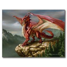 Red Dragon - Dungeons & Dragons - Fantasy Artwork Postcard <3