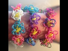 ▶ New Rainbow Loom Flower Fun Chain Bracelet - YouTube