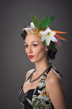 3cadcf8fa22 Misrilou - Tropical Glittered Fascinator Floral Polynesian Pop Headdress  Pineapple Lily Headpiece Hawaiian Island Flower Half