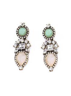 Fashion Pink Gem Rhinestone Statement Earrings