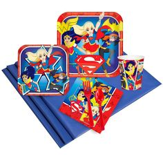 Glorious DC Comics Super Hero Girl Party Pack Elegent Collection of Superhero Girl Party Kits for Birthday at PartyBell. Superhero Party Supplies, Girl Superhero Party, Super Hero Training, Blue Tablecloth, Plastic Table Covers, Dc Super Hero Girls, Blue Party, Halloween Accessories, Mask Party