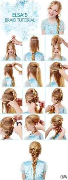 Elsa Braid Tutorial Disney Frozen Hair Tutorials Elsa and Anna Hacks. Step by Step Tutorials for Side Braids Coronation Buns and Royal Updos on Frugal Coupon Living. The post Frozen Hair Tutorials Elsa and Anna Hacks appeared first on Hair Styles. Girls School Hairstyles, Little Girl Hairstyles, Pretty Hairstyles, Braided Hairstyles, Hairstyles Haircuts, Short Haircuts, Frozen Hair Tutorial, Disney Hair Tutorial, Frozen Hairstyles
