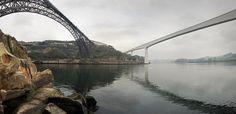 O rio #Douro entre #Porto e #Gaia, as neblinas e o barco Rabelo associado pelo Vinho do Porto. Pontes: Freixo, S.João, Dª Maria, Infante, D. Luís, Arrábida
