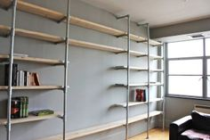 Scaffolding Boards and Galvanised Steel Pipe Wall - scaffolding planks, home storage organization