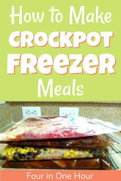 Create four crockpot freezer meals in under an hour. Do the work once and dinner was taken care of for the better part of the week. #mealprep #freezermeals #crockpotmeals Chicken Freezer Meals, Freezer Friendly Meals, Make Ahead Freezer Meals, Freezer Cooking, Easy Meals, Beans In Crockpot, Meal Prep For Beginners, Family Meal Planning, Meal Planning Printable
