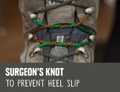 REI Expert Advice: How to Lace Hiking Boots - detail of the surgeon's knot method of tying boot laces to prevent heel slip