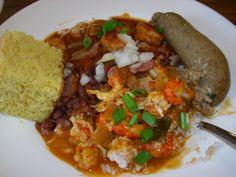 Red beans, crawfish étouffée, crowder peas, boudin, and cornbread - Bro's Cajun Cuisine, Nashville