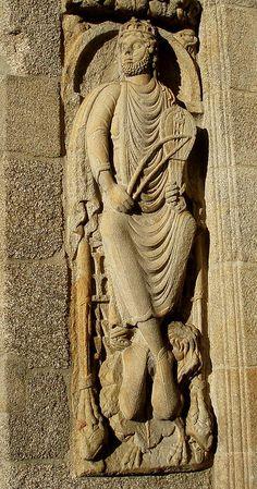 Rey David, Portada de Platerías de la Catedral de Santiago de Compostela (Spain).