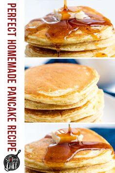 The Perfect Homemade Pancake Recipe is easy to make with ingredients you probably already have on hand. This recipe can easily be turned into a pancake mix or into buttermilk pancakes as well. It& the perfect versatile all-in one recipe. Homemade Pancakes, Pancakes Easy, Buttermilk Pancakes, Pancakes And Waffles, Waffle Recipes, Pancake Recipes, Cooking Recipes, Cake Recipes From Scratch, Easy Cake Recipes