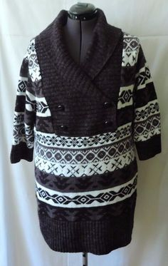 Torrid Women White Gray Black Knit Sweater/ Sweater Dress Size 1 #Torrid #CowlNeck #Casual