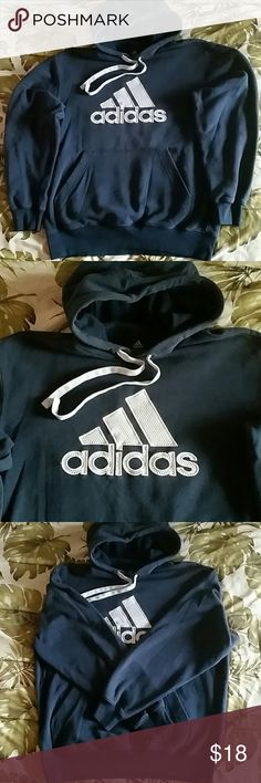 Adidas Navy Blue Hooded Sweatshirt Up for grabs is a navy blue and silver hooded Adidas sweatshirt. The size is medium. It comes from a smoke free home and it is very comfortable/warm. Really nice sweatshirt. Feel free to make me an offer! :) adidas Sweaters
